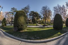 Fisheye 180 view of a space in the Retiro Park in Madrid city. Spain Royalty Free Stock Images