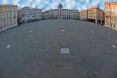Fisheye view with Square of Italian Unity in Trieste, Italy 1 Royalty Free Stock Photos