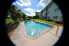 Fisheye View of Swimming Pool at Condo on Golf Course Stock Photography