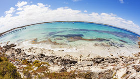 Fisheye view of Vivonne Bay in South Australia. Fisheye view of Vivonne Bay on Kangaroo Island, South Australia stock photo
