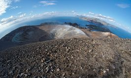Fisheye view of volcano crater  on Vulcano island Royalty Free Stock Photos
