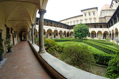 Fisheye wide view of San Lorenzo church garden, Firenze, Italy royalty free stock photography