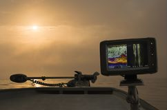 Fishfinder, echolot, fishing sonar at the boat. Fishing background stock images