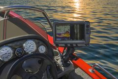 Fishfinder, echolot, fishing sonar at the boat. Fishing concept royalty free stock photos