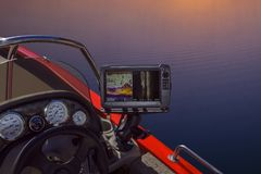 Fishfinder, echolot, fishing sonar at the boat. Fishing concept royalty free stock photography