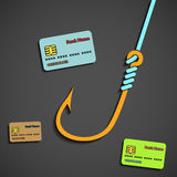 Fishhook and bank cards. Royalty Free Stock Photography
