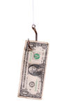 Fishhook with dollar note Stock Photo
