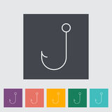 Fishhook icon. Fishhook. Outline icon on the button. Vector illustration Stock Photography