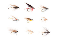 Fishhooks or Trout Flies in 3x3 Grid Cutout Stock Image