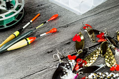 Fishig reel,iron baits and bobbers Stock Images