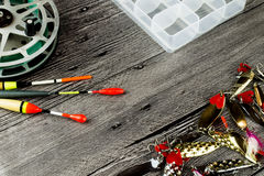 Fishig reel,iron baits and bobbers Stock Photos