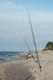 Fishind stänger på den sandiga stranden Royaltyfria Foton