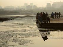 fishing,at skymning fotografering för bildbyråer
