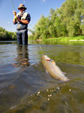 Fishing. (Fly  on river Royalty Free Stock Images