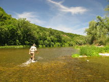 Fishing. (Fly  on river Stock Photography