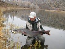 Fishing. ( in mongolian river Stock Image
