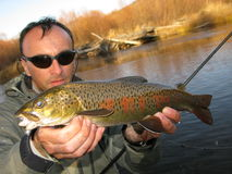Fishing. (Fisherman catched big trout Stock Image
