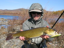Fishing. ( in Mongolia - trout Stock Photos