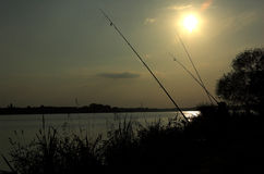 Fishing. Sunset royalty free stock photography