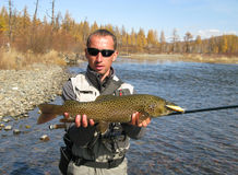Fishing. (Big trout catched in Mongolia Royalty Free Stock Image
