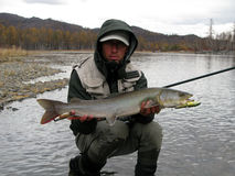 Fishing. In wild nature (Mongolia Royalty Free Stock Photography