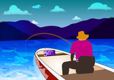 Fishing. A man waiting in a motorboat, fishing at the sea or ocean. The fishing rod bent. on sea background Stock Images