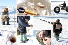 Fishing. Ice fishing collage: winter view Royalty Free Stock Images
