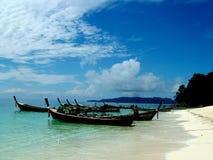 Fishing. Boats moored on the beach on a island near thailand Stock Photo