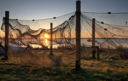Fishing. Nets hung out to dry Stock Photos