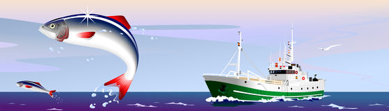Fishing. The fishing vessel hunts on a herring Royalty Free Stock Image
