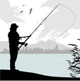 Fishing. People silhouette  illustration vector Stock Images