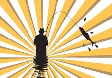 Fishing. Fishing man with ray light Royalty Free Stock Photos