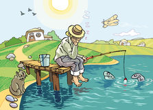 The Fishing. An idyllic scene of fishing at the countryside. The fisher sleeps under the blue sky but the suspicious fishes and the hungry cat are staying awake Royalty Free Stock Photo