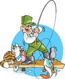 Fishing. A fisherman catches a fish.He is holding a fishing rod with a big fish.Cat steals from a bucket  fish Royalty Free Stock Images