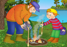 Fishing. Father and son extinguish a fire after fishing Stock Images