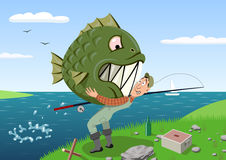 Fishing. Fisherman catching fish-monster. Vector illustration Stock Photo