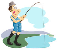 Fishing. Man standing holding a fishing pole design Royalty Free Stock Photos