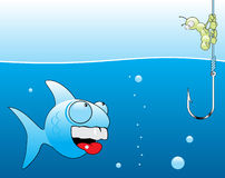 Fishing. Cartoon fishing. The worm does not want to die Royalty Free Stock Images