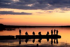 Fishing. Evening fishing on a shore of a Pivdennyi Buh Stock Image