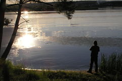 Fishing. Evening fishing royalty free stock image