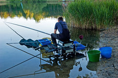 Fishing. On the lake in the southern part of Poland stock image