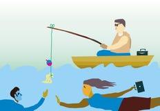 Fishing. Man fishing with dollar as bait Stock Image