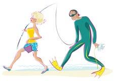 Fishing. Vector illustration of fishing couple Royalty Free Illustration