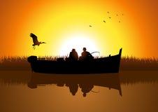 Fishing. Silhouette illustration of two men fishing on the lake Royalty Free Stock Image