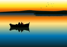 Fishing. Vector illustration of two men silhouette fishing on tranquil lake Stock Photography