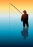 Fishing. Silhouette illustration of a man fishing on calm water Royalty Free Stock Photography
