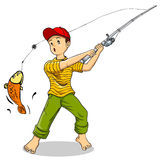 Fishing. Cartoon illustration of a boy fishing Stock Photography