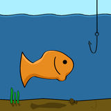 Fishing. Cartoon illustration showing a fish in the water looking at a fishing hook Stock Photo