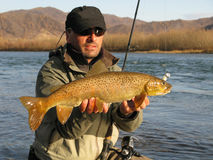 Fishing. Fisherman catched big trout on river in Mongolia Stock Photo