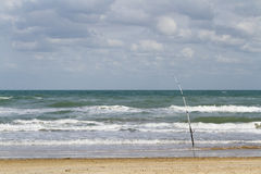 Fishing. On the beach of South Padre Island, TX Royalty Free Stock Image